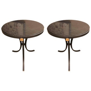 Hollywood Regency Style Pair of Marble-Top Iron Base Circular Stands End Tables
