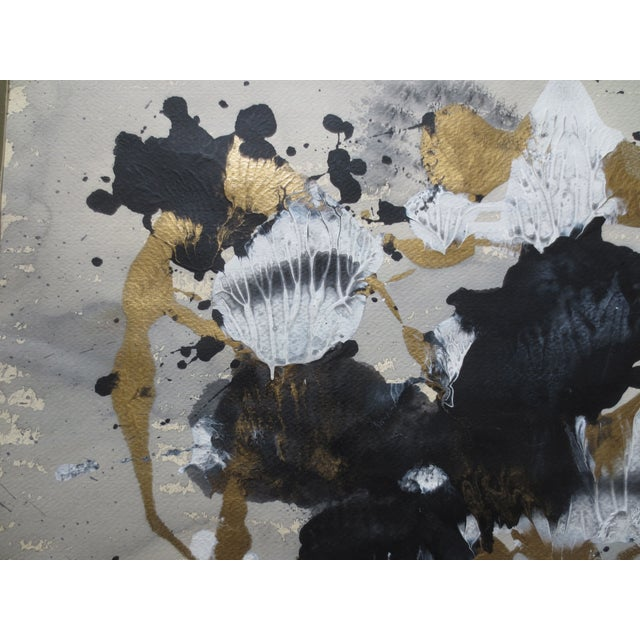 1984 Large Russian Gold & Black Gouache Abstact - Image 4 of 7