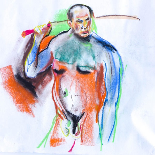 Image of Samurai Nude Pastel Drawing