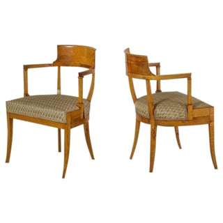 Pair of Alfred Grenander Attributed Birch Armchairs, Sweden, Late 19th Century