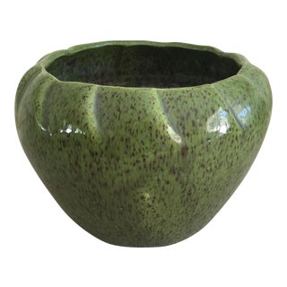 Mid-Century Speckled Pottery Vessel in  Avocado