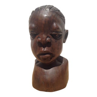 African Senegal Wooden Male Bust