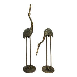 Verde Brass Cranes - A Pair