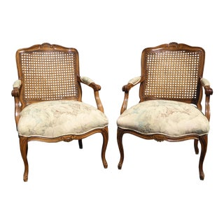Vintage French Country Bergere Chairs - A Pair