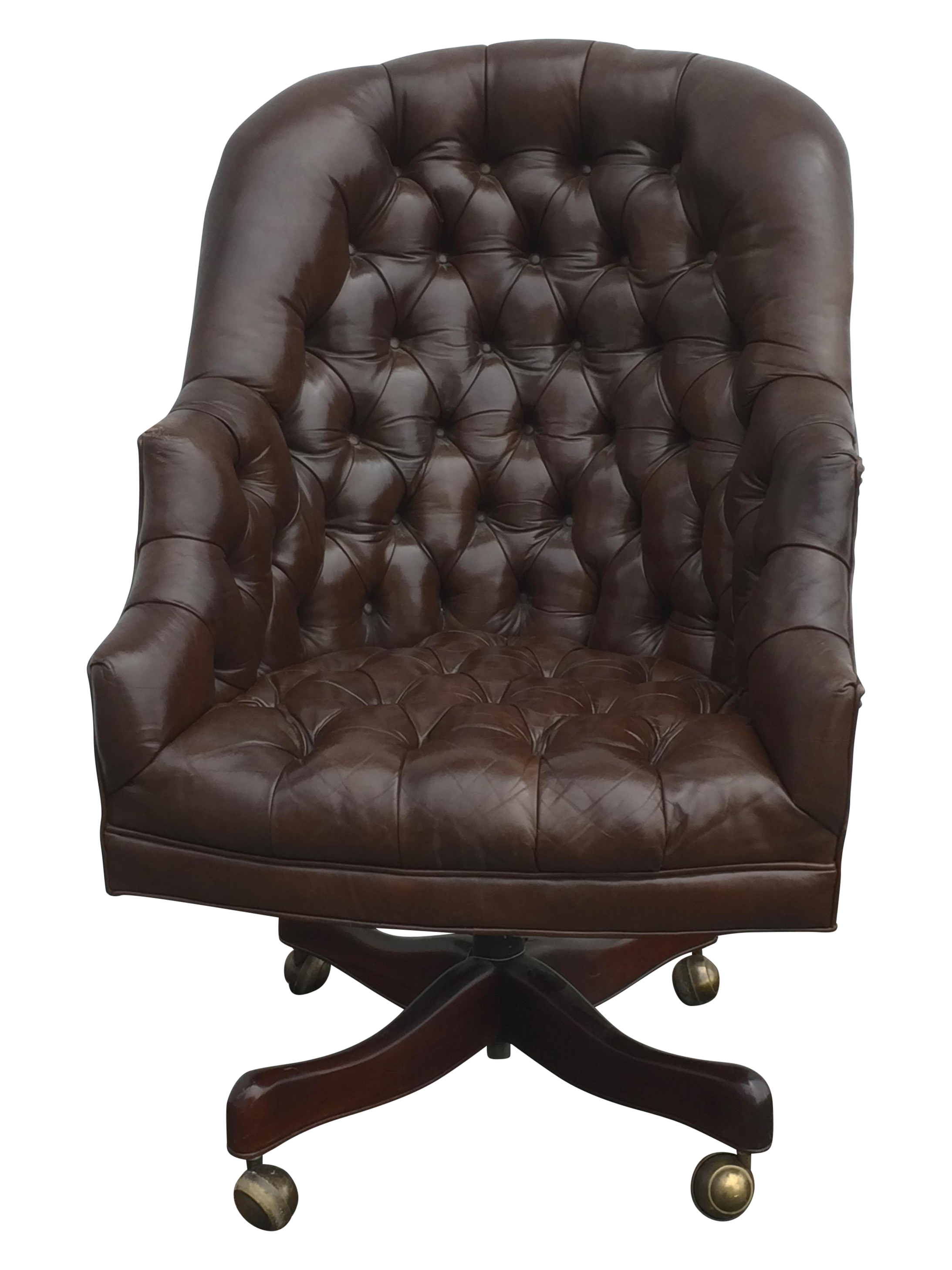 Vintage Tufted Brown Swivel fice Chair