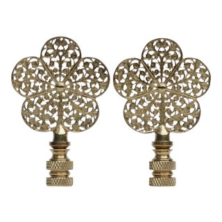 Solid Brass Flower Filigree Finials - A Pair