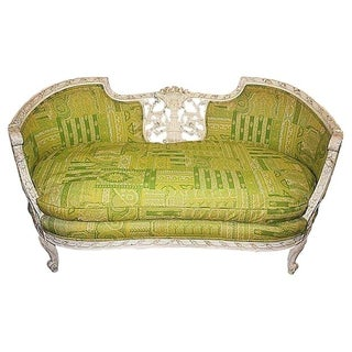 19th Century Green French Carved Loveseat