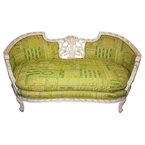 19th Century Green French Carved Loveseat - Image 1 of 8