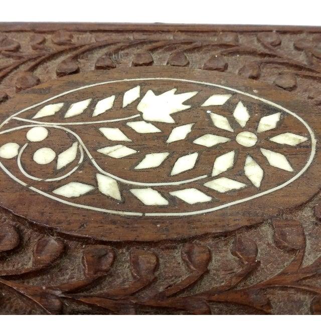 Vintage Sandalwood Carved Trinket Box India - Image 3 of 8