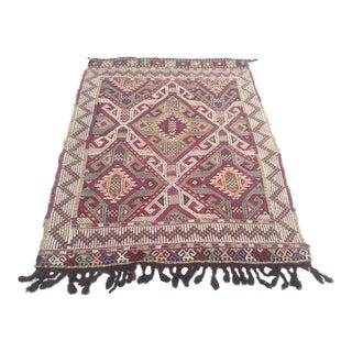 Vintage Anatolian Kilim Rug- 2′10″ × 3′9″