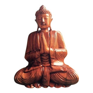 Indonesian Carved Wood Buddha Sculpture