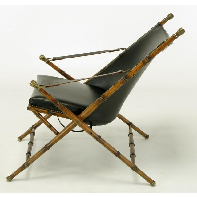 Italian Campaign Chair In Black Leather - Image 7 of 10