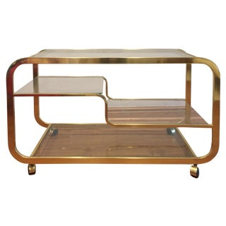 Milo Baughman Mid-Century Brass & Glass Bar Cart