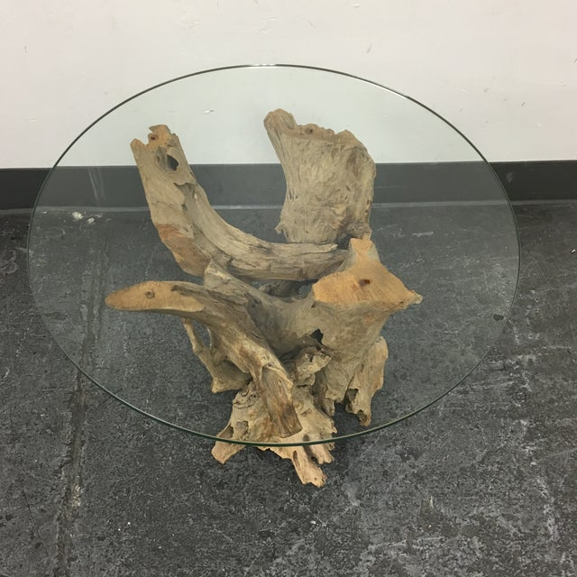 Image of Driftwood Base Side Table With Glass Top