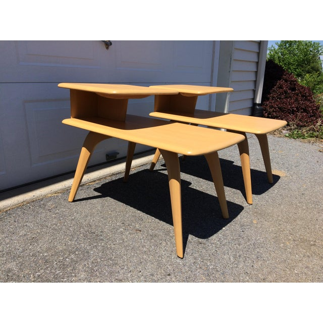 Heywood Wakefield Wheat Finished End Tables- A Pair - Image 3 of 8
