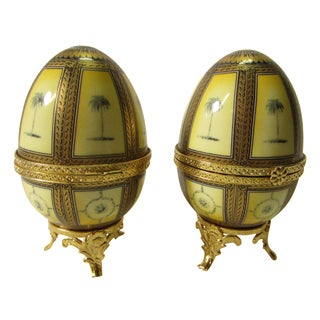 Hinged Porcelain Egg Trinket Box With Palm Trees - A Pair