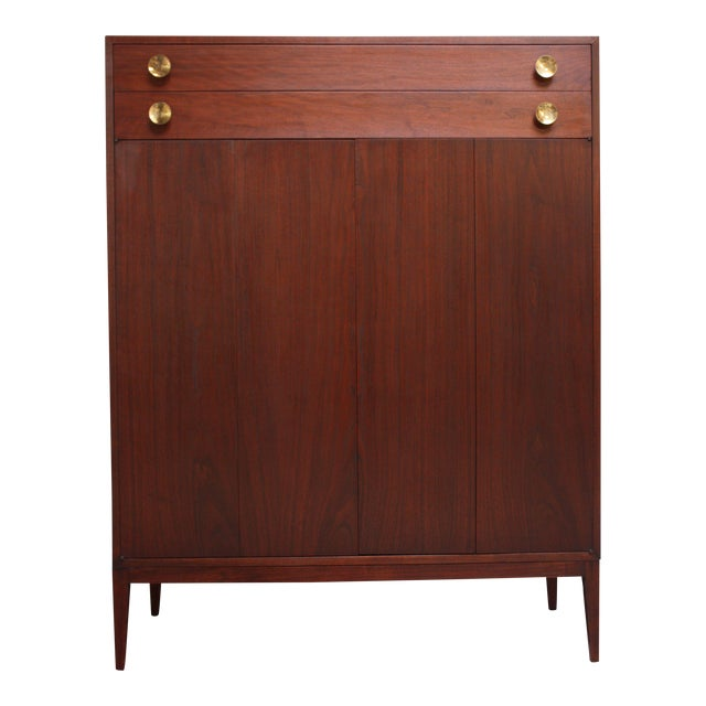 Midcentury Walnut and Brass Gentleman's Chest after Paul McCobb - Image 1 of 9