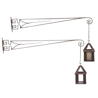 Pair of French Fer Forge Lanterns and Brackets