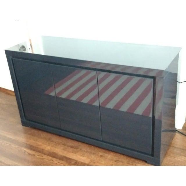 Medium Indigo Lacquered Cabinet Credenza - Image 2 of 8