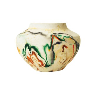 Vintage Nemadji Green & Orange Pottery Vase