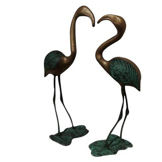 Turquoise Covered Brass Crane Sculptures - A Pair