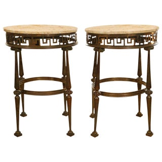 Pair Italian Brass and Marble Gueridon Tables