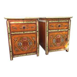 Ornate Painted Indian Nightstands - A Pair