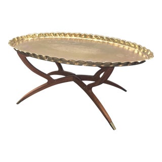 Mid-Century Moroccan Folding Brass Tray Table