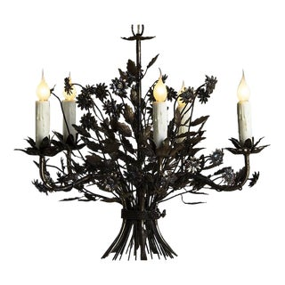 Vintage Steel Floral Bouquet Chandelier, Five Lights, France c.1940