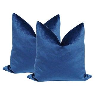 """22"""" Sapphire Luxe Velvet Pillows - A Pair"""