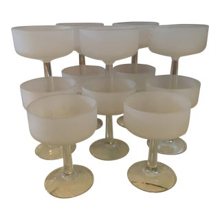 Frosted White Champagne Glasses - Set of 12