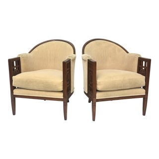 Fine Pair of French Art Deco Mahogany Chairs, Paul Follot