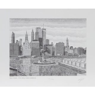 Etching - Walter Tjart - The New York Harbor