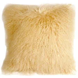 Champagne Mongolian Sheepskin Square Pillow