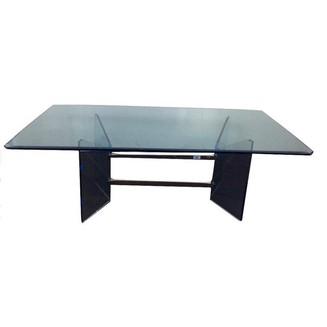 Image of Mid-Century Modern French Tempered Glass Table