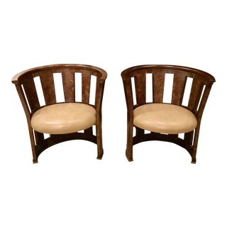 A Pair of Caracole Burl-Esque Barrel Chairs