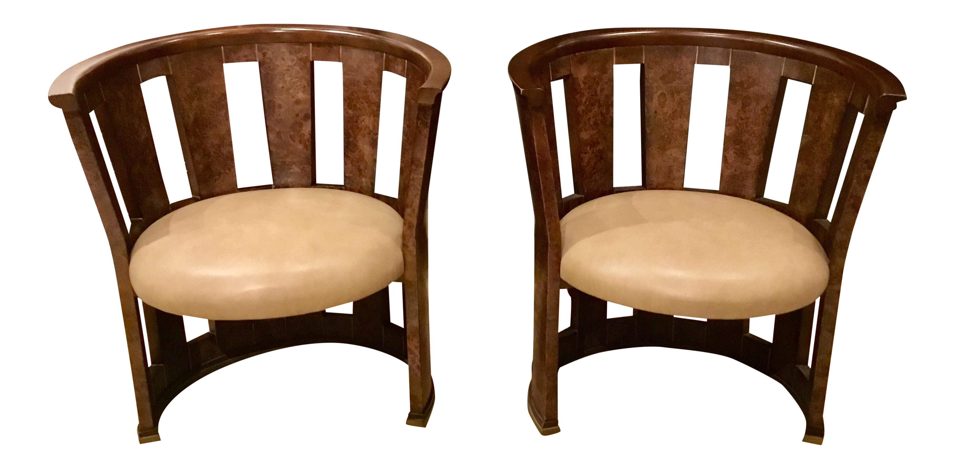 a pair of caracole burlesque barrel chairs