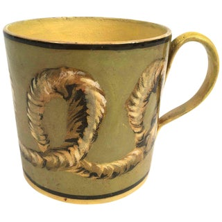 French Yellow Creil Mochaware Pottery Mug