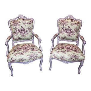 Antique Louis XV-Style Fauteuils - A Pair