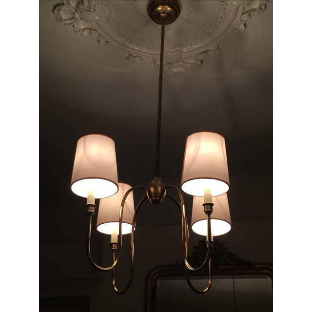 Classic 4-Arm Brass Chandelier With Light Shades - Image 2 of 3