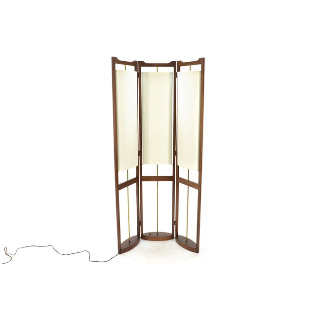 Three Panel Walnut Folding Lamp Room Divider - Image 4 of 7