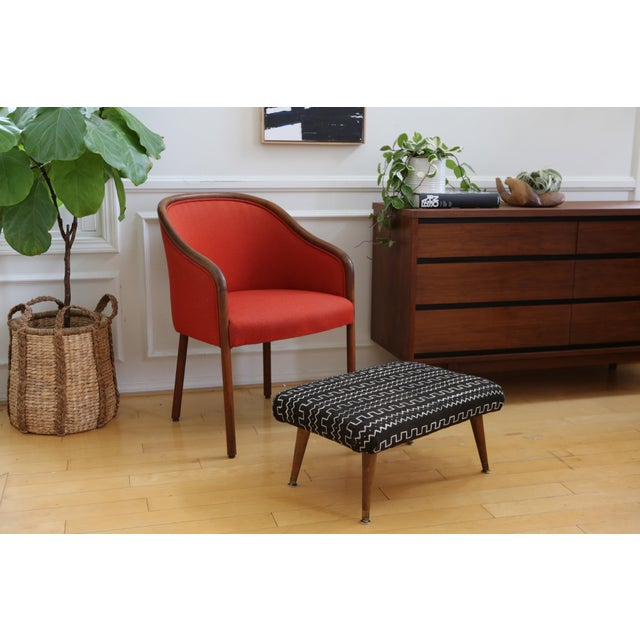 Mid-Century Modern Authentic African Mud Cloth From Mali Footstool - Image 6 of 7