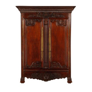 Carved Oak French Armoire