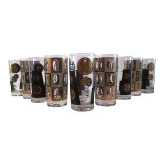 Black & Gold Highball Glasses - Set of 10