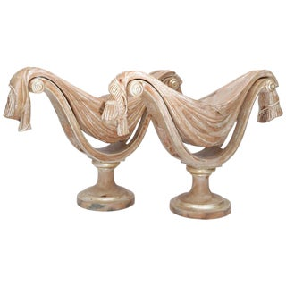 Pair of Hollywood Regency, Dorothy Thorpe, Billy Haines Style Carved Wood Urns