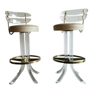 Vintage Lucite & Brass Barstools - A Pair
