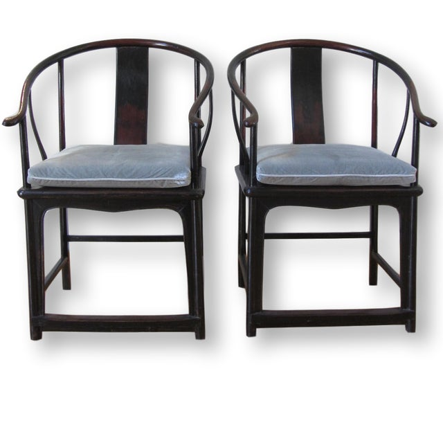 Image of Large Antique Chinese Horse Shoe Back Chairs - 2