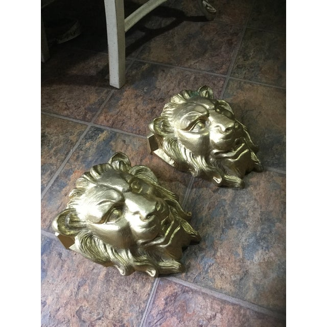 Majestic Golden Lion Wall Shelfs - a Pair - Image 4 of 10