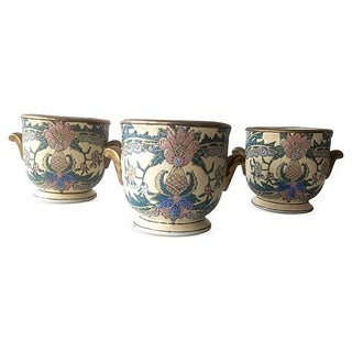 Chinoiserie Hand-Painted Cachepots - Set of 3