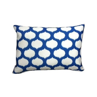 Blue & White Ikat Outdoor Pillow